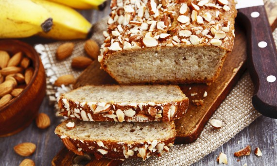 Banana bread with almonds on the table