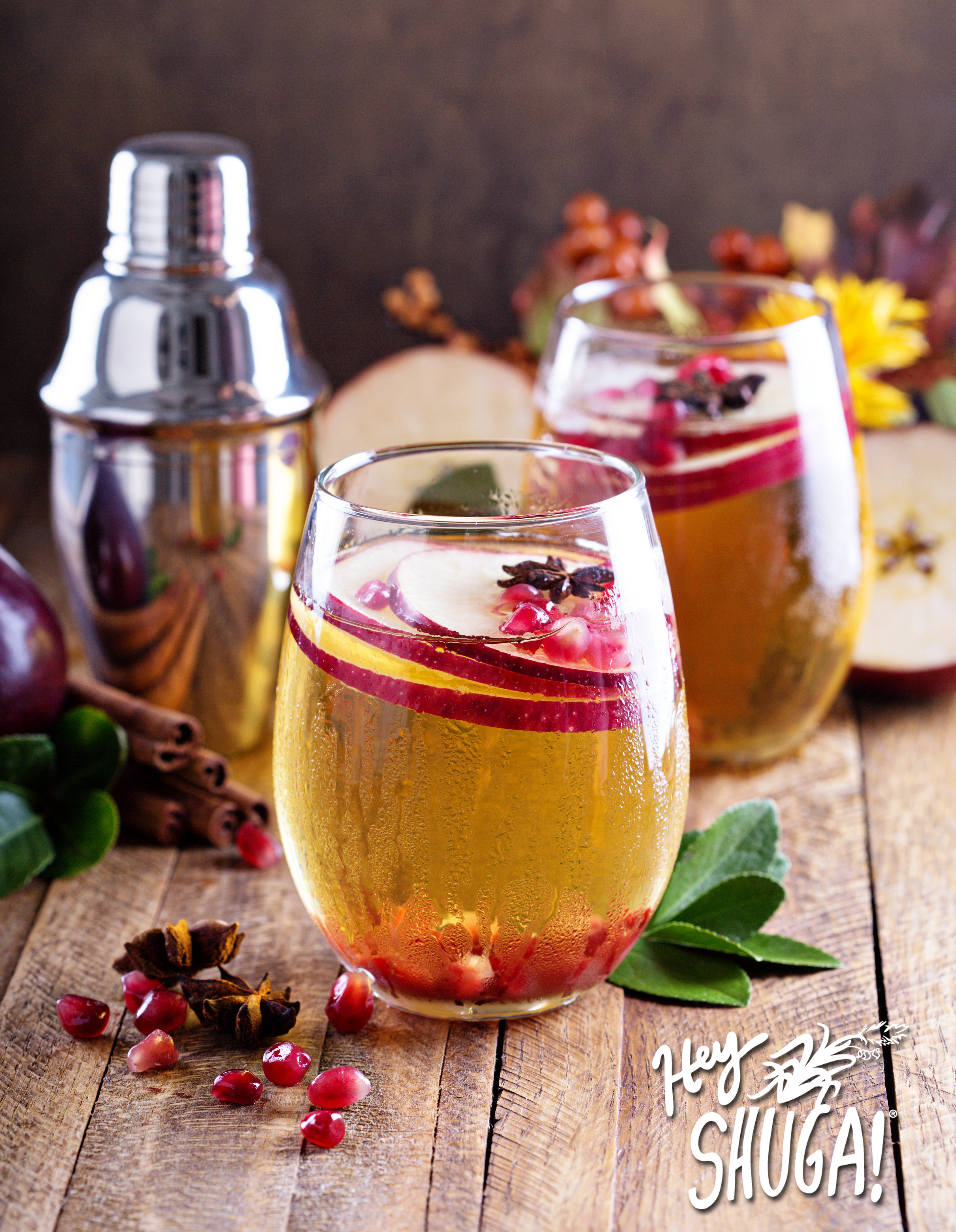 Apple cider fall cocktail with spices and pomegranate